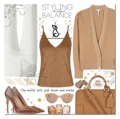 """""""Untitled #1326"""" by elena-starling ❤ liked on Polyvore featuring Loewe, Chloé, Topshop, Gianvito Rossi, Illesteva, Bobbi Brown Cosmetics, monochrome, brown, camel and fallwinter2015"""