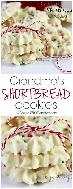 Grandma's Shortbread Cookies Recipe via Spend With Pennies - The BEST Christmas Cookies, Fudge, Candy, Barks and Brittles Recipes - Favorites for Holiday Treats Gift Plates and Goodies Bags! Christmas Cookie Exchange, Best Christmas Cookies, Xmas Cookies, Yummy Cookies, Christmas Shortbread Cookies, Buttery Cookies, Spritz Cookies, Best Shortbread Cookie Recipe, Wilton Cookie Press Recipe