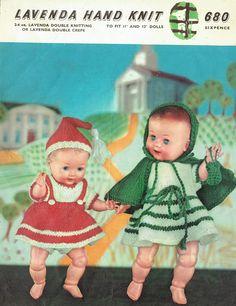 Items similar to PDF Vintage Doll Clothes Knitting Pattern Lavenda 680 Cape Cloak Pixie Hood Dress Pinafore Hat Underwear Vest Pilch Rosebud Baby Doll on Etsy Girl Doll Clothes, Doll Clothes Patterns, Clothing Patterns, Girl Dolls, Baby Dolls, Vintage Knitting, Vintage Sewing, Knitting Patterns, Crochet Patterns