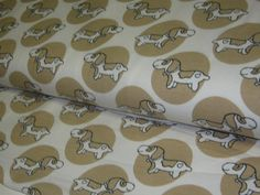 Organic+Jersey+with+Dachshund+in+beige+on+creme+from+StoffeandFabrics+by+DaWanda.com