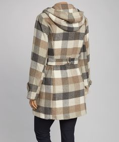 Brown & Black Buffalo Check Belted Coat
