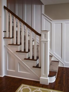 stair trim ideas staircase wainscoting design pictures remodel decor and ideas 1930s Semi Detached House, Banister Remodel, Paneling Remodel, Traditional Staircase, Staircase Makeover, Stair Railing, Banisters, Railings, Spindles For Stairs