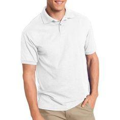 Hanes Big Men's EcoSmart Short Sleeve Jersey Golf Shirt, Size: 5XL, White