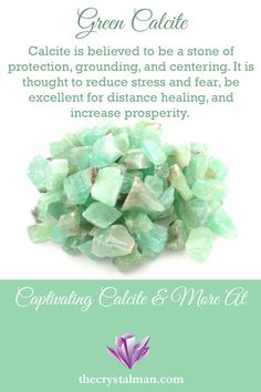 This stunningly coloured type of Calcite features bright greens with the classic soft texture of Calcite. A truly stunning stone, Calcite is believed to aid in grounding, protection, and centering. Calcite and so much more at The Crystal Man! Crystal Guide, Crystal Magic, Minerals And Gemstones, Crystals Minerals, Healing Gemstones, Crystal Healing Stones, Stones And Crystals, Green Calcite Meaning, Calcite Crystal