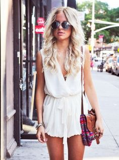 dress, romper, jumpsuit, white, tie up, high waisted - Wheretoget
