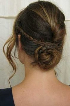 pinterest updo This braided bun has a subtle Grecian feel to it, thanks to a delicate braid.