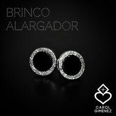 Brinco Alargador ( fake ) Carol Gimenez Joias Confeccionado em Prata 950 com Onix e cravações de zircônias !