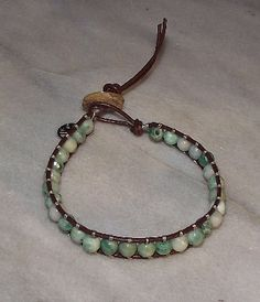 Brown Leather with Green Tree Agate Beads with peace charm #HAF #HAFshop #handmade $22.95
