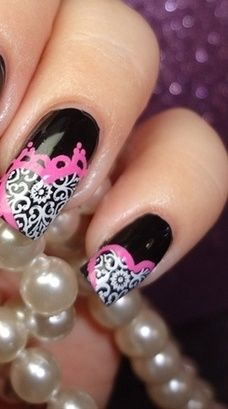 Black pink and white nail art