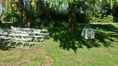 Wedding set up under our willow tree Wedding Set Up, Willow Tree, Old Things, Weddings, Outdoor Decor, House, Home, Mariage, Haus
