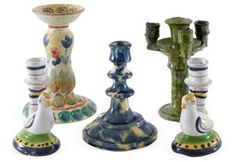 Ceramic Candlesticks, Set of 5