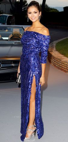 """Nina Dobrev sparkled in an off-the-shoulder electric blue sequined gown at the annual amfAR gala in Cap D'Antibes, France. She teamed the look with Bulgari jewelry and silver Jimmy Choo """"Lance"""" sandals. Nina Dobrev, Look Fashion, Fashion Beauty, Elie Saab Gowns, Glamour, Red Carpet Looks, Grey Carpet, Modern Carpet, Beautiful Gowns"""