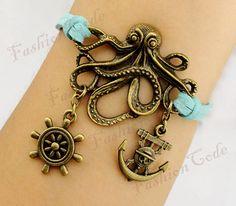 Pirates of the Caribbean, Personalized Bronze Octopus, Anchor & Rudder Charm Bracelet--Korean Cashmere Bracelet--Best Chosen Gift