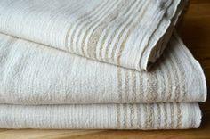 Linen Pestemal Towel - Tan Stripe