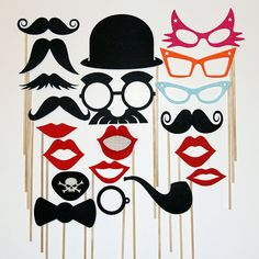 Mustache , Pipe, Pirate Eye Patch On A Stick  Fun Weddings, Parties,Birthdays -  Photography Prop Mask - 20 Piece Set on Etsy, $32.80 CAD