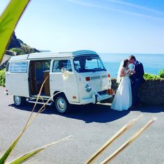 VW camper van wedding in Ilfracombe Devon above Tunnels Beaches. Devon Holidays, North Devon, Vw Camper, Just Married, Newlyweds, Custom Clothes, Seaside, Things To Sell, Claire