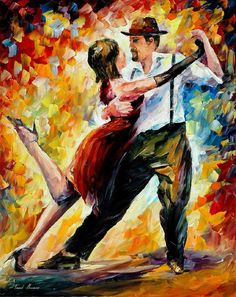 """Tango In Red — PALETTE KNIFE Oil Painting On Canvas By Leonid Afremov - Size: 24"""" x 30"""""""