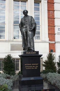 Michael Faraday statue - This Day in History: Aug Michael Faraday discovers electromagnetic induction. Michael Faraday, Letourneau University, Humphry Davy, Electromagnetic Induction, Robotics Competition, Circuit Design, Design Competitions, His Travel, Batman