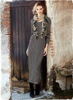 Perfect for travels near and far, this is a dress no wardrobe should be without. Sensuously soft and drapy in pima (49%), modal (47%) and spandex (4%), our taupe and black stripe jersey dress is long and sleek, with a scooped neck and full-length sleeves.