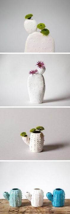 De jolis vases en forme de cactus / Housewares with a wink from Etsy seller OlisCupboard. Ceramic Clay, Ceramic Pottery, Keramik Design, Cacti And Succulents, Cactus Planters, Ceramic Planters, Cactus Cactus, Mini Cactus, Deco Floral
