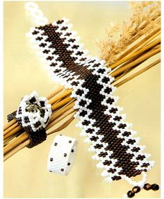 Bracelets made of black and white beads