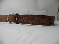 Paisley leather dog collar- custom option. $55.00, via Etsy.
