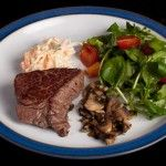 A fast day menu with scrambled egg and smoked salmon for breakfast and a 3 course steak dinner - no deprivation here!