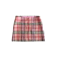 Pre-owned Plaid skirt pink (£140) ❤ liked on Polyvore featuring skirts, mini skirts, pink, short red skirt, tartan miniskirts, short skirts, wool plaid skirt and red mini skirt