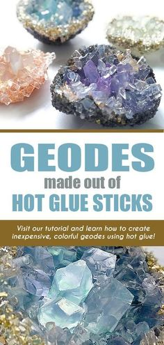 Make captivating geodes out of clear hot glue sticks and hot glue - in a few minutes! Make captivating geodes out of clear hot glue sticks and hot glue - in a few minutes! Glue Gun Crafts, Craft Stick Crafts, Crafts To Make, Diy Crafts For Teens, Teen Crafts, Diy Glue, Diy Arts And Crafts, Diy Nail Glue, Diy Crafts Cheap