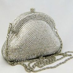 Glamorous Silver Swarovski Crystal Evening Bag and Clutch Purse Bridal Handbags, Silver Clutch, Beaded Bags, Clutch Wallet, Evening Bags, Purses And Handbags, Wedding Shoes, Swarovski Crystals, Coin Purse