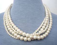 Pearl Necklace  Ivory Pearl Necklace Glass by pearlandjewelry, $18.00
