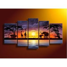 Sunset river giraffe elephant wall art on quality ($38.80)