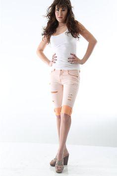 CHD-la05ls006 pants orange destroyed bermudas by Chloe Deschanel (Women Chloe Deschanel)