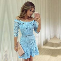 2017 homecoming dresses, lace homecoming dresses, sky blue homecoming dresses, off shoulder homecoming dresses, 1/2 long sleeves homecoming dresses, mini dresses, party dresses, cocktail dresses, short prom dresses#SIMIBridal #homecomingdresses