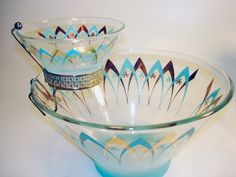 Vintage ATOMIC glass CHIP DIP BOWL set Eames era 1960's gold turquoise Blendo