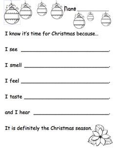 5 Senses Holiday Writing Prompt - Can be used for interactive writing or as a prompt. Use to help students focus on word choice, parts of speech, etc. Free product on TpT. by ivy Kindergarten Writing, Teaching Writing, Writing Activities, Classroom Activities, Kindergarten Christmas, Advent Activities, Writing Practice, Writing Ideas, Classroom Ideas