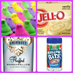 Peeps Pudding Shots 1 small Pkg. Vanilla pudding (instant, not the cooking kind) ¾ Cup Milk ¾ Cup Marshmallow Vodka 1/2 Cup marshmallow bits or mini marshmallows 8oz tub Cool Whip  Directions 1. Whisk together the milk, liquor, and instant pudding mix in a bowl until combined. 2.add marshmallows 3. Add cool whip a little at a time with whisk. 4.Spoon the pudding mixture into shot glasses, disposable 'party shot' cups or 1 or 2 ounce cups with lids. Place in freezer for at least 2 hour