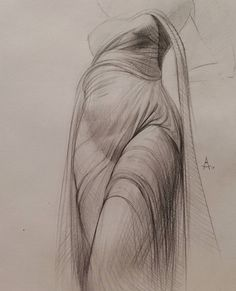 In this drawing, there is rhythm in shapes and repetition. The drapery of this woman's clothing/dress are soft subtle lines that flow like water off of this woman's body, giving the rhythm of this piece a calm tone; if this were a song it would be a ballet.