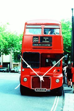 London bus - wedding day transport.