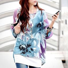 Floral Oversized Printed Loose-Fitting Chiffon Blouse by Thats So Fetch on Opensky