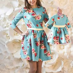 Mother Daughter floral print Dress Family Matching Outfits Fashion Mommy and Me Long Dress Family Fitted party wedding Clothing Mommy And Me Dresses, Mommy And Me Outfits, Mom Dress, Mothers Dresses, Baby Dress, Dress Red, Mother Daughter Matching Outfits, Mother Daughter Fashion, Matching Family Outfits