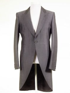 Ex-Hire Silver Grey Morning Tailcoat - All Sizes. Matching and morning stripe trousers available. Classic Royal Ascot outfits for men at Tweedmans Vintage.