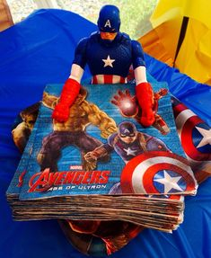 Captain America figure is great for holding napkins - visit to grab an unforgettable cool 3D Super Hero T-Shirt!