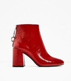 Zara High Heel Ankle Boots With Metallic Pull Tab