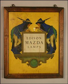 Edison Mazda Lamps outdoor sign by Maxfield Parrish