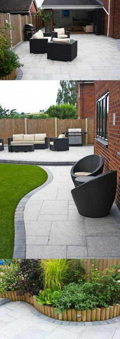 Patio stones - Stunning modern patio Birch Granite Paving Contemporary Garden Wicker Furniture Landscaping Garden Seating Installation completed by A Ward Landscapes Modern Landscape Design, Modern Garden Design, Modern Landscaping, Patio Design, Landscaping Ideas, House Design, Garage Design, Modern Design, Landscaping Borders