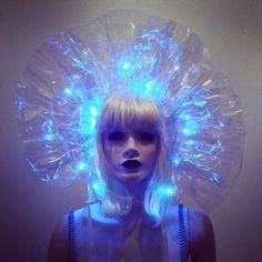 Clear PVC Headdress or Neck Ruff Collar with LED Lights Lady Gaga Drag Queen Costume Avant Garde Sci Fi Fantasy BLADERUNNER