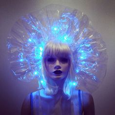 Clear PVC Headdress or Neck Ruff Collar with LED Lights Lady Gaga Drag Queen Costume Avant Garde Sci Fi Fantasy BLADERUNNER