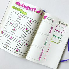 August Bullet Journal Page