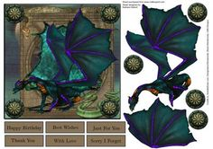 Dragon Shield Five Topper with Decoupage on Craftsuprint - Add To Basket!